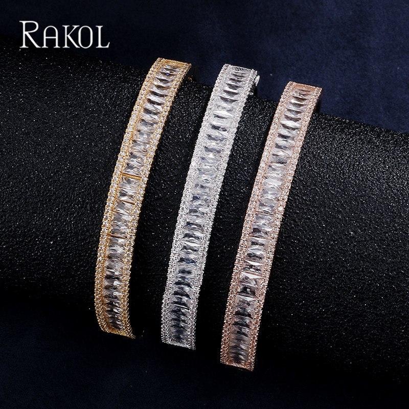 [해외]RAKOL 패션 로즈 골드 컬러 지르콘 오스트리아 크리스탈 바게트 Bangles & amp; 여성 기념일 쥬얼리 팔찌/RAKOL Fashion Rose Gold Color Zircon Austrian Crystal Baguette Bangles &