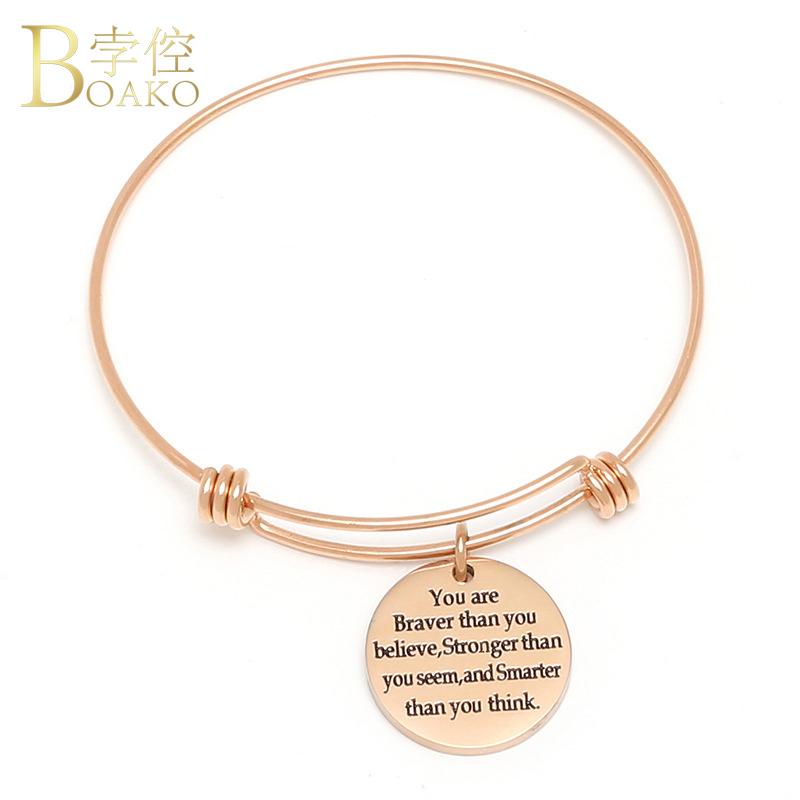 [해외]BOAKO 매력 글레이브 여성용 조절 가능한 팔찌 쥬얼리는 Best Friend Pulsera Z4 용 골드 스테인레스 스틸 팔찌 로즈/BOAKO Charm Engrave Letter Adjustable Bracelet For Women Jewelry Rose