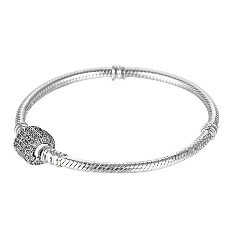 [해외]럭셔리 925 스털링 실버 팬 브레이슬릿 시그니처 클램프 크리스탈 스네이크 체인 브레이슬릿 & amp; 팔찌 여성 구슬 매력 보석/Luxury 925 Sterling Silver Pan Bracelet Signature Clasp Crystal Snake