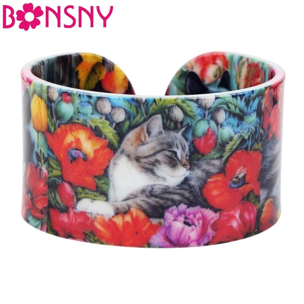 [해외]Bonsny 플라스틱 다채로운 우아한 고양이 새끼 Bangles 팔찌 여성을패션 공예 보석 소녀 동물 액세서리/Bonsny Plastic Colorful Elegant Cat Kitten Bangles Bracelets Fashion Craft Jewelry F