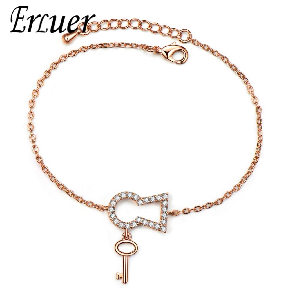[해외]ERLUER 패션 실버 컬러 큐빅 지르코니아 키 팔찌 & amp; 여자를Bangles 로즈 골드 독특한 스타일 트렌디 웨딩 쥬얼리 선물/ERLUER Fashion Silver Color Cubic Zirconia Key Bracelets & Ban