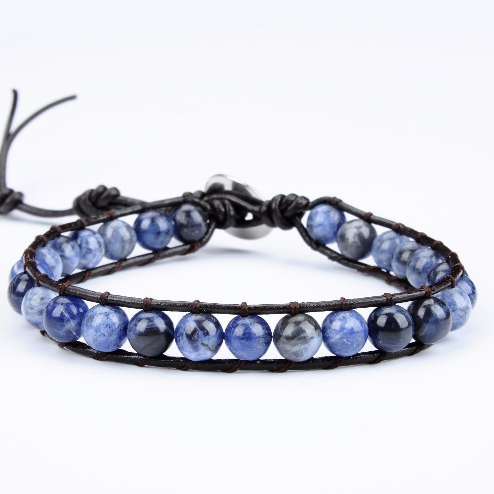 [해외]2017 새로운 여성 팔찌 자연 Sodalite 스톤 가죽 래핑 된 팔찌 빈티지 제직 비드 쥬얼리 /2017 New Women Bracelet  Natural Sodalite Stone Leather Wrapped Bracelets Vintage Weaving