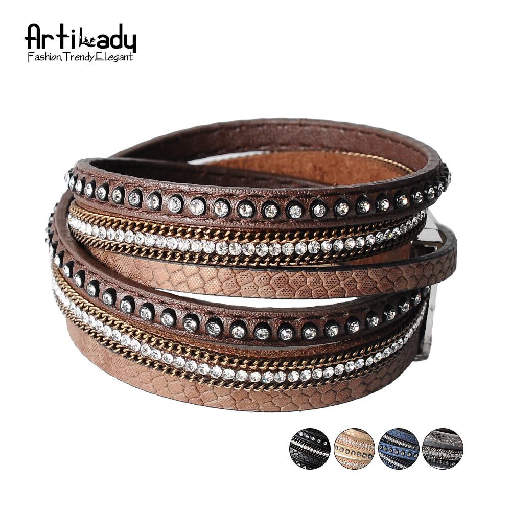 [해외]Artilady 랩 가죽 팔찌 매력 겨울 가죽 팔찌 여성 쥬얼리 BW/Artilady  wrap leather bangle charm winter leather bracelet women jewelry BW