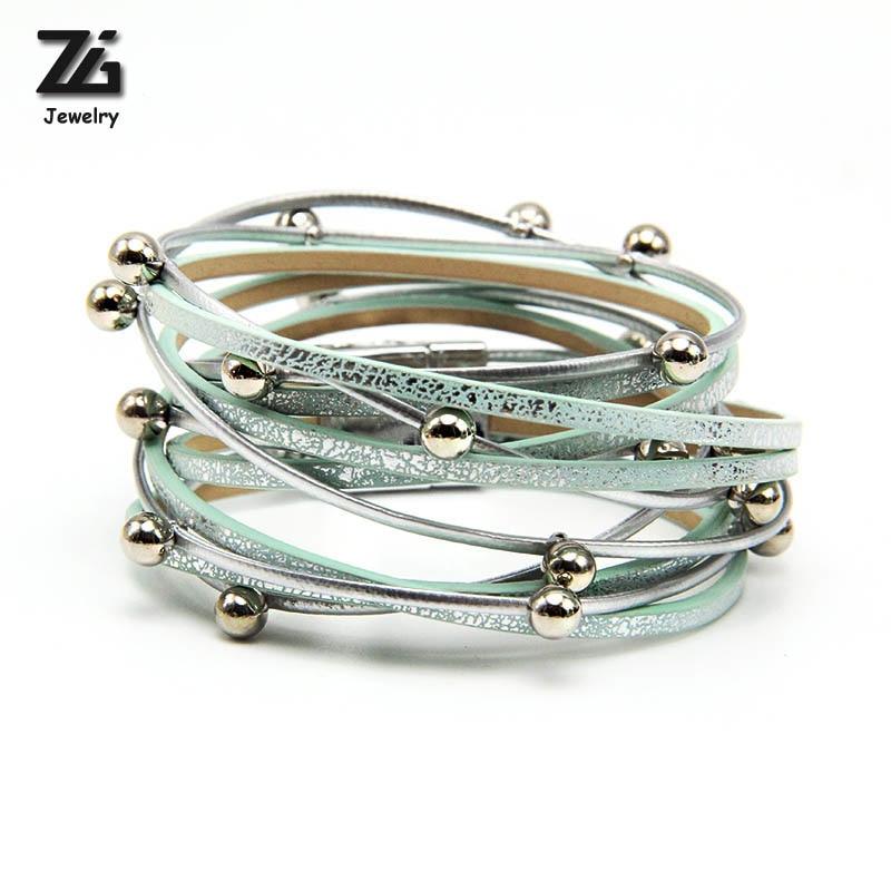 [해외]ZG 2018 랩 가죽 여름 팔찌 매력 팔찌 & amp; 여자를팔찌 자석 팔찌 팔찌 보헤미안 팔찌/ZG 2018 wrap summer leather bracelet charm bracelets & bangles magnet buckle bracel