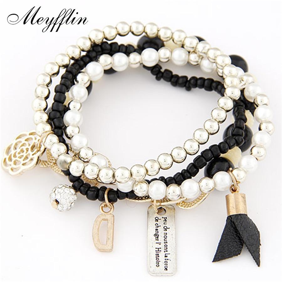 [해외]비즈 랩 팔찌 여성용 팔미라 페미니나 패션 매력 팔찌 & amp; Bangles Femme 보헤미안 다층 크리스마스 선물/Beads Wrap Bracelet For Women Pulseira Feminina Fashion Charm Bracelets &a