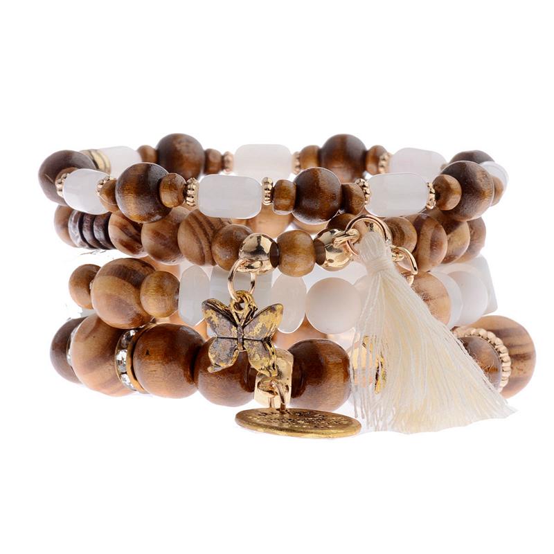 [해외]4 색 보헤미아 우드 팔찌 여성을다채로운 비즈 & amp; & 나비 스트랜드 팔찌 패션 페르시 팔찌 HXB025/4 Colors Bohemia Wood Bracelets For Women Colorful Beads&Tassel&But