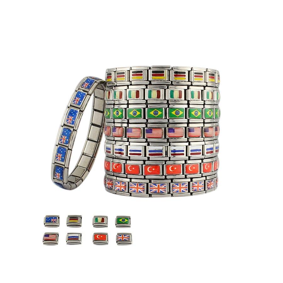 [해외]스테인레스 스틸 팔찌 깃발 팔찌 2018 러시아 월드컵 팬 러시아 독일 브라질 이탈리아 9mm/Stainless Steel Bracelets Flag Bracelet 2018 Russia World Cup Fans Russia Germany Brazil Ital