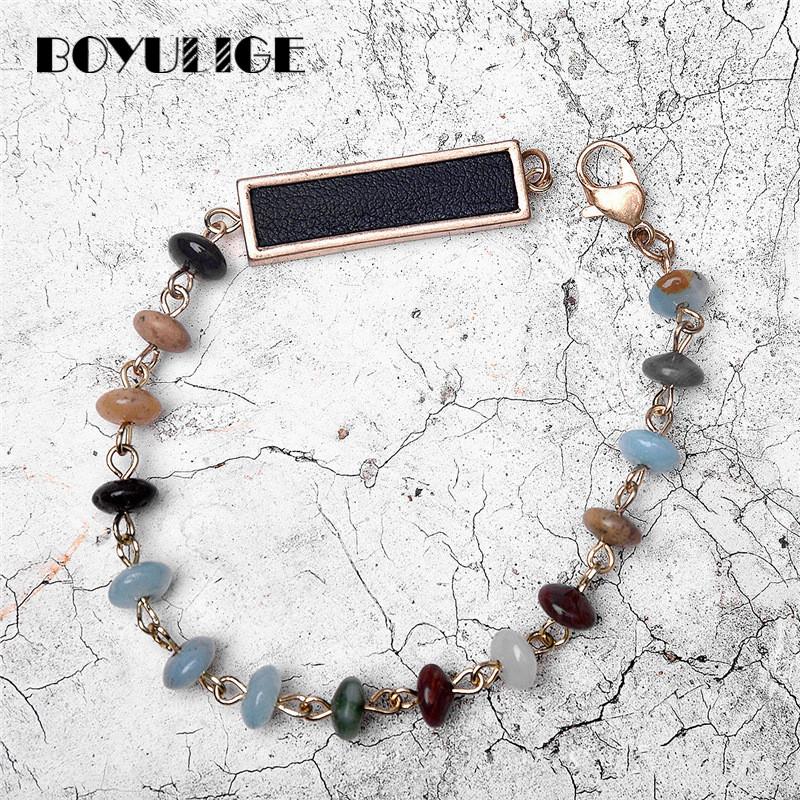 [해외]여성을보헤미안 스트랜드 팔찌 천연 화려한 돌 비즈 가죽 액세서리 쥬얼리 패션 매력 선물 팔찌 부이 리 귀/Bohemian strand bracelet for women natural colorful stone beads leather accessories jew