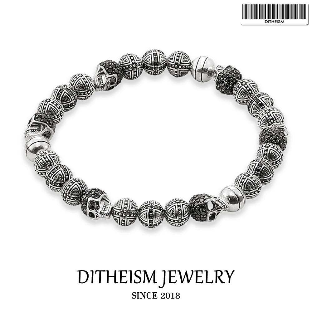 [해외]스트랜드 팔찌 스컬과 크로스 비즈, 2018 년 새 검은 은빛 패션 쥬얼리 남성용 펑크 선물 소년 여성용 여자/Strand BraceletsSkull and Cross Beads, 2018 New Blackened Silver Fashion Jewelry Pun