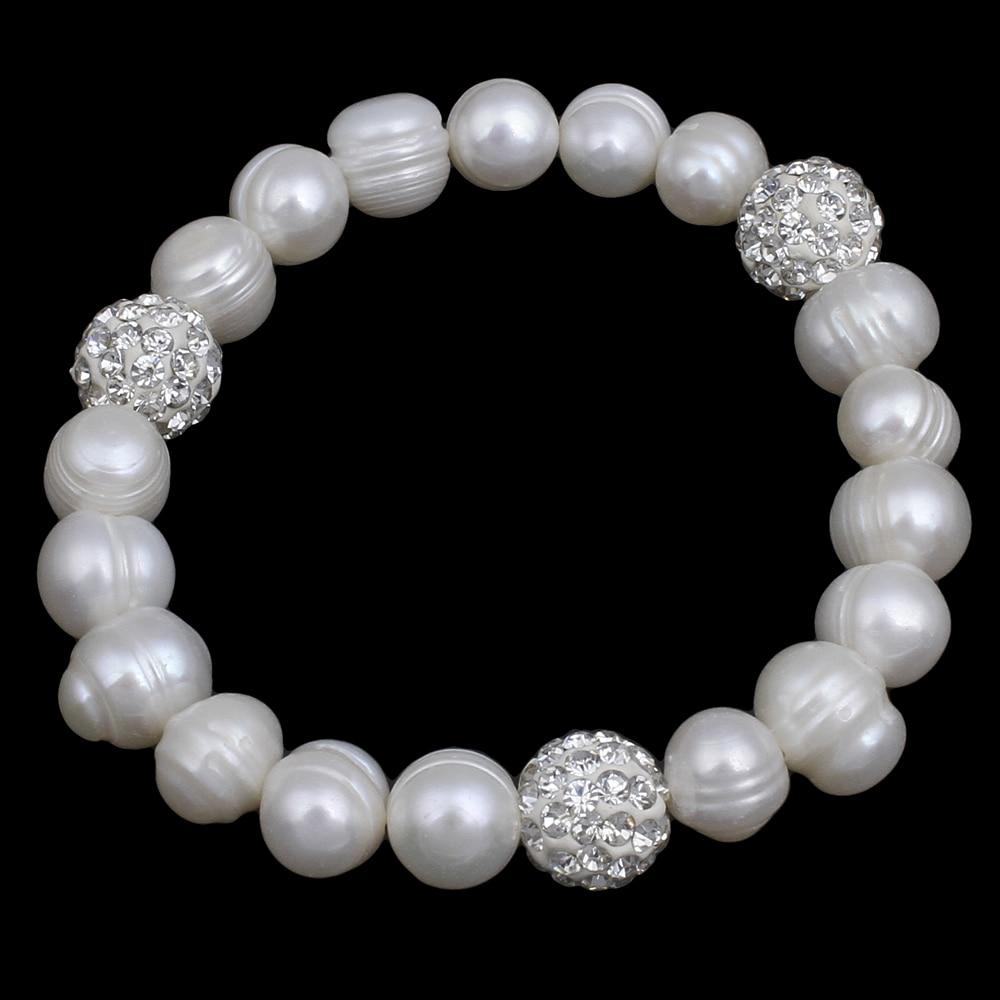 [해외]담수 교양 진주 팔찌 가격 웨딩 천연 진주 라인 석 비즈 8-9mm 6 & 진주 팔찌 Bangles/Freshwater Cultured Pearl Bracelet Price Wholesale Wedding Natural Real Pearl Rhinesto