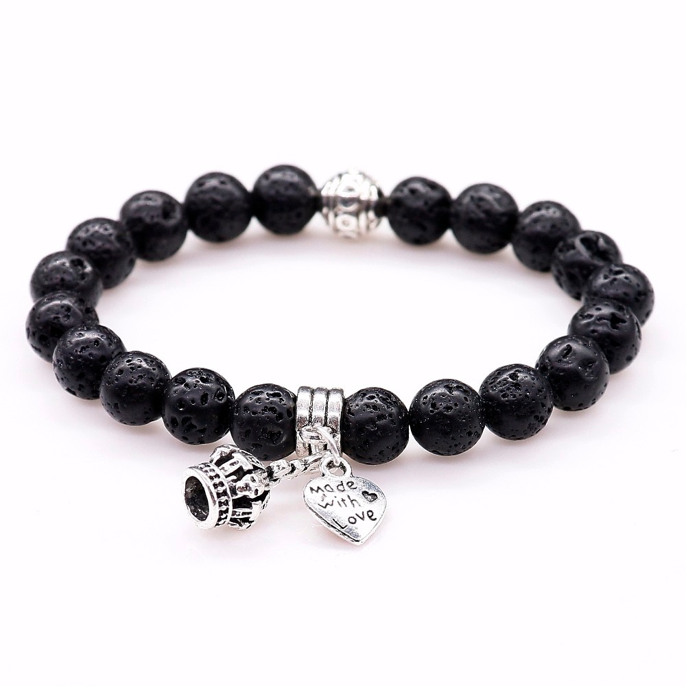 [해외]8mm 남성 캐주얼 쥬얼리 자연 화산 돌 크라운과 하트 Pendent 팔찌 블랙 용암 팔찌 여성 팔찌/8mm Casual Jewelry For Men Natural Volcanic Stone Crown and Heart Pendent Bracelets Black