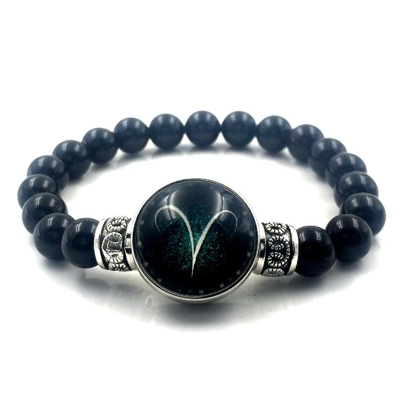 [해외]2018 블랙 라운드 흑요석 팔찌 쥬얼리 12 조디악 로그인 스냅 버튼 팔찌 뱅글 남성 & amp; 여자 발렌타인 데이 선물 B18009/2018 Black Round Obsidian Bracelet Jewelry 12 Zodiac Sign Snap Bu