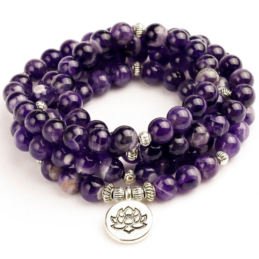 [해외]여자 Mala UniBracelets 여자를자연적인 자주색 석영 에너지 요가 Mala Lotus 108 구슬 Buddha 팔찌 돌 보석/Woman Mala UniBracelets For Women Natural Purple Quartzs Energy Yoga M