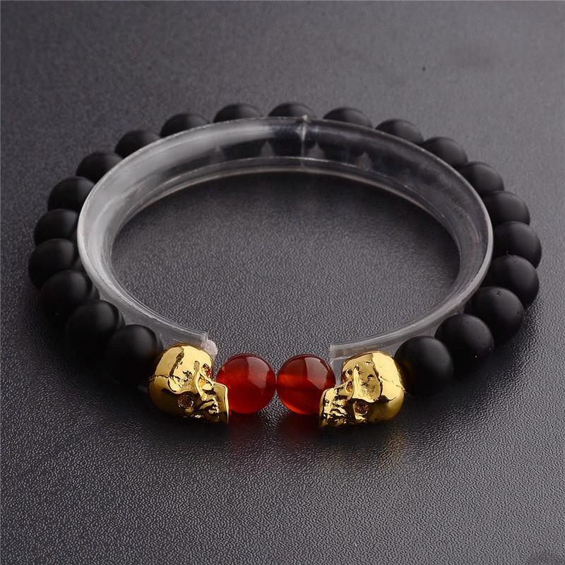[해외]새로운 천연 석재 여성을해골 팔찌 용암 비드 남성 팔찌 검은 용암 비즈 팔찌 Pruseras Mujer AB574/New Natural Stones Skull Bracelet For Women Lava Stone Beads Men Bracelet Black La