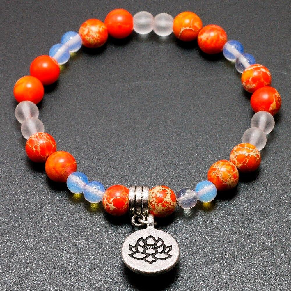 [해외]자연 오렌지 제국 Stone6mm 월장석 비즈 로터스 매달린 매력 팔찌 여성 영혼 건강 요가 보석 자유/Natural Orange Imperial Stone6mm Moonstone Beads Lotus Pendent Charm Bracelet Women Soul