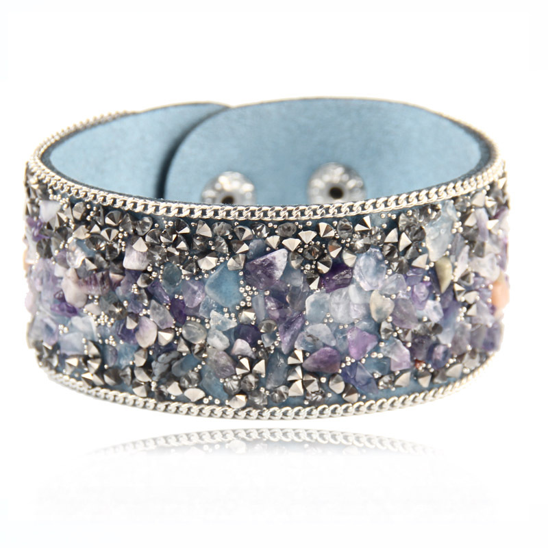 [해외]SEDmart 불규칙한 모양의 자수정 크리스탈 자연 원시 돌 Bangles 여자를가변 Velevt Bangles 선물/SEDmart Irregular Shaped Amethysts Crystal Natural Raw Stone Bangles Adjustable