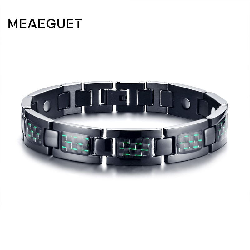 [해외]Meaeguet Black 4 건강 관리 요소 탄소 섬유 팔찌 남성 게르마늄 원적외선 자석 팔찌 Father 's s Gift/Meaeguet Black 4 Health Care Elements Carbon Fiber Bracelet Men Germani