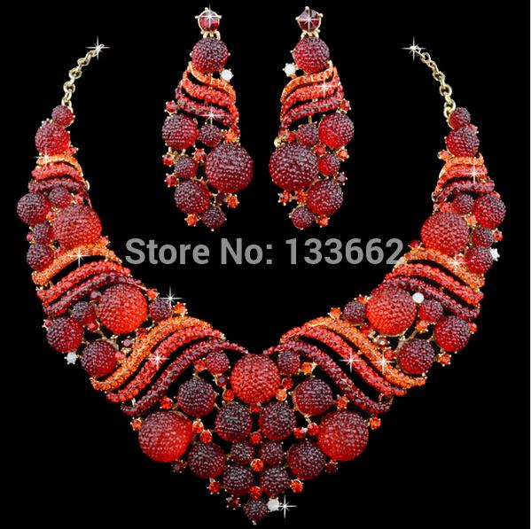 [해외]레드 아프리카 산호 비즈 Shamballa 크리스탈 신부 웨딩 쥬얼리 세트 저녁 파티 진술 목걸이 귀걸이 여성 쥬얼리 들어/Red African Coral Beads Shamballa crystal Bridal Wedding Jewelry Sets Dinner