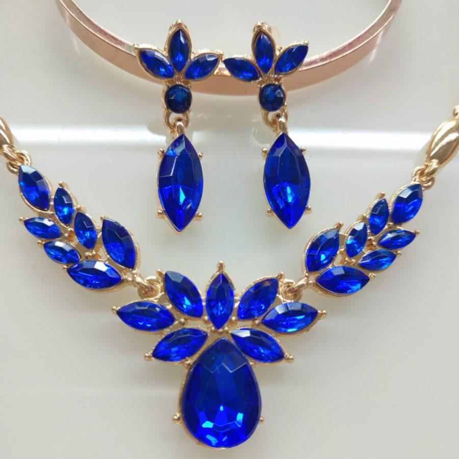 [해외]발렌타인 데이 선물 화려한 크리스탈 쥬얼리 세트 웨딩 황금 도금 여성 목걸이 귀걸이 세트 인도 쥬얼리/Valentines Day Gift Colorful Crystal Jewelry Sets  Wedding Golden Plated Women Necklace E