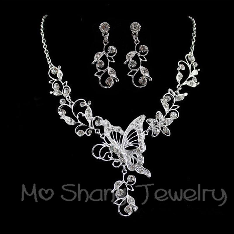 [해외]Wdding 쥬얼리 세트 신부 라인 석 쥬얼리 세트 나비 초커 목걸이 귀걸이 은색 도금 패션 주얼리 세트/Wdding Jewelry Set Bride Rhinestone Jewelry Set Butterfly Choker Necklace Earrings Silv