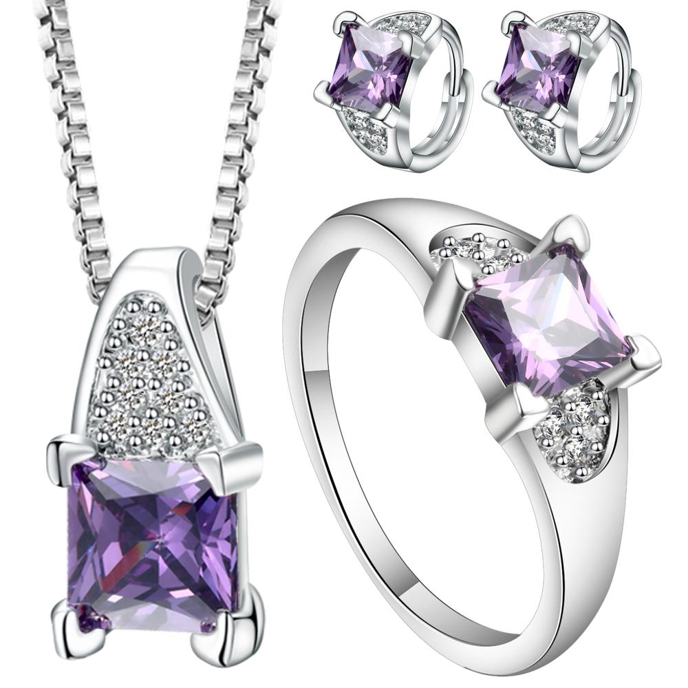 [해외]우아한 입방 지르코니아 보라색과 분홍색 CZ 쥬얼리 여성 Bijoux 목걸이 귀걸이 반지 보석 보석에 대한 설정/Elegant Cubic Zirconia Purple And Pink CZ Jewelry Sets Female Bijoux Necklaces Earr