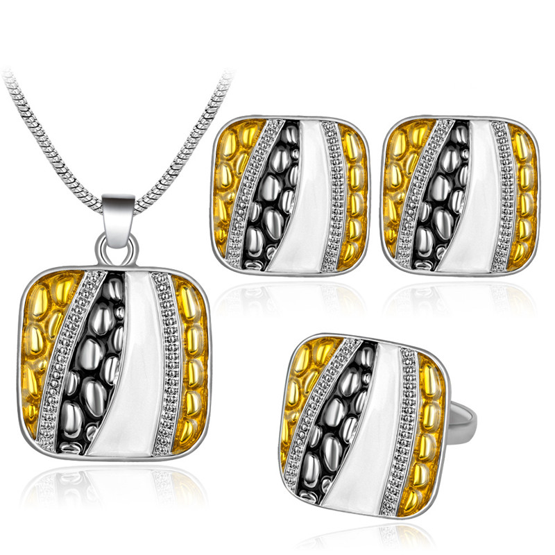 [해외]새로운 에나멜 실버 컬러 스퀘어 펜던트 웨딩 쥬얼리 세트 멀티 컬러 기하학 초커 목걸이 귀걸이 반지 선물 세트/New Enamel Silver Color Square Pendant Wedding Jewelry Set Multi Color Geometry Chok