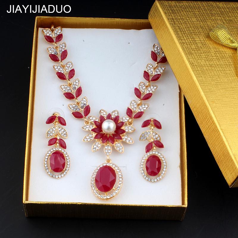 [해외]jiayijiaduo 귀족 여성을결혼식 보석 세트 골드 컬러 목걸이 귀걸이 세트 레드 / 그린 컬러 액세서리/jiayijiaduo Wedding jewelry set for noble women gift gold color necklace earrings set
