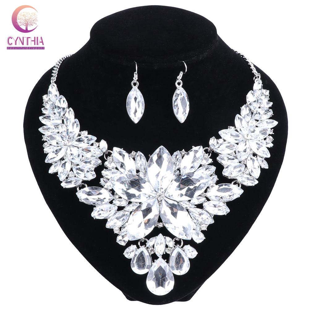 [해외]크리스탈 신부의 쥬얼리 세트 실버 컬러 라인 석 목걸이 귀걸이 웨딩 약혼 보석 세트 여성을위한/Crystal Bridal Jewelry Sets Silver Color Rhinestone Necklace Earrings Wedding Engagement Jewe