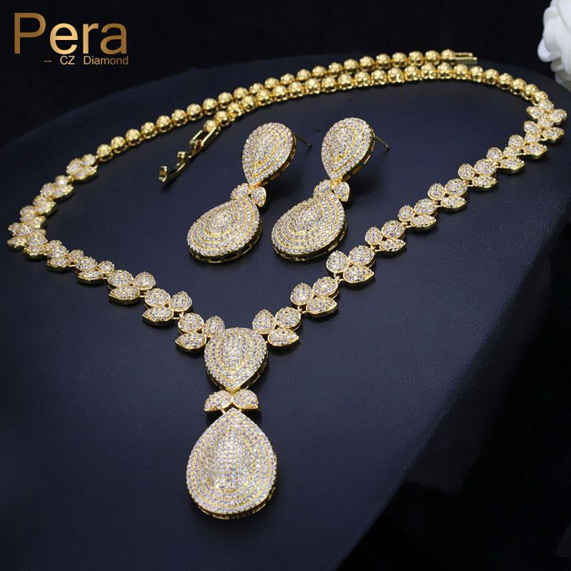 [해외]페라 우아한 두바이 여성 배 드롭 쥬얼리 세트 결혼 큐브 지르코니아 펜던트 목걸이와 귀걸이 결혼식 선물 J221/Pera Elegant Dubai Women Pear Drop Jewelry Sets Bridal Cubic Zirconia Pendant Neckl