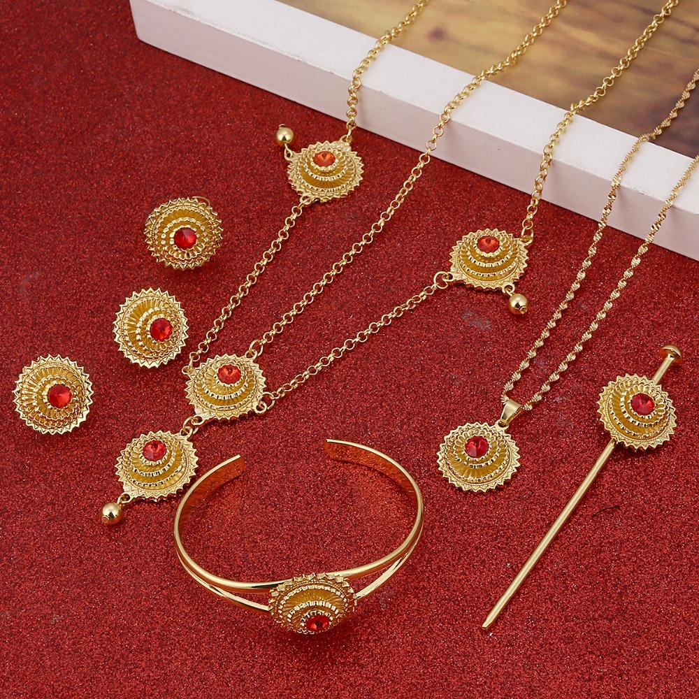 [해외]아프리카 에티오피아에 대한 레드 블루 그린 스톤 에티오피아 쥬얼리 골드 컬러 웨딩 쥬얼리 세트/Red Blue Green Stone Ethiopian Jewelry Gold Color Wedding Jewelry Sets for African Ethiopia E
