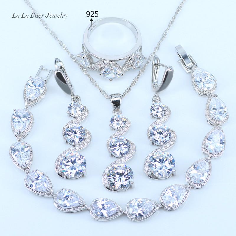 [해외]L & B 4PCS 쥬얼리 세트 925 실버 색상 유혹 화이트 크리스탈 귀걸이 반지 목걸이 펜던트 팔찌 여성을가져 오기/L&B 4PCS Jewelry Set 925 Silver Color Fetching Alluring White Crystal E