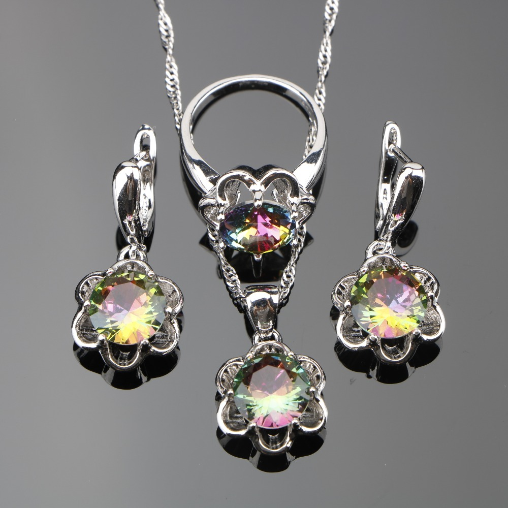 [해외]3PCS 925 스털링 실버 숙녀 라운드 여성 마법의 레인보우 CZ 쥬얼리 세트 웨딩 보석 펜던트 / 목걸이 / 반지 / 귀걸이/3PCS 925 Sterling Silver Ladies Round Women Magic Rainbow CZ Jewelry Sets
