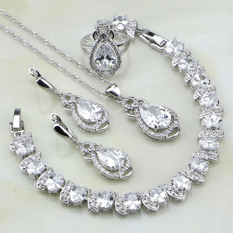 [해외]925 스털링 실버 쥬얼리 화이트 큐빅 지르코니아 브라 이어 쥬얼리 세트 여성용 웨딩 팔찌 / 목걸이 / 펜던트 / 귀걸이 / 반지/925 Sterling Silver Jewelry White Cubic Zirconia Bridal Jewelry Sets For
