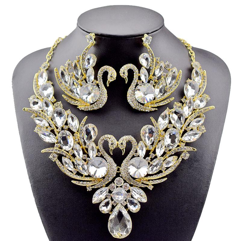 [해외]2018 새로운 패션 골드 컬러 전체 크리스탈 라인 석 백조 목걸이 및 귀걸이 세트 여성 신부 웨딩 쥬얼리 세트/2018 New Fashion Gold Color full Crystal Rhinestone Swan Necklace and Earrings Set