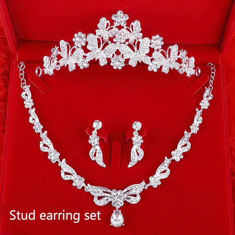 [해외]럭셔리 크리스탈 속지 나비 티아라 목걸이 세트 여성을신부 보석 세트 웨딩 보석 헤어 밴드 크라운 머리띠 TL0012/Luxury Crystal Inlay Butterfly Tiara Necklace Sets Bridal Jewelry Set for Women W