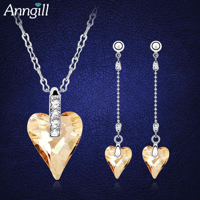 [해외]우아한 크리스탈 스와 로브 스키 사랑 하트 신부 보석 세트 귀걸이 목걸이 크리스탈 세트 Parure Bijoux Femme 웨딩 쥬얼리/Elegant Crystal From Swarovski Love Heart Bridal Jewelry Sets Earrings
