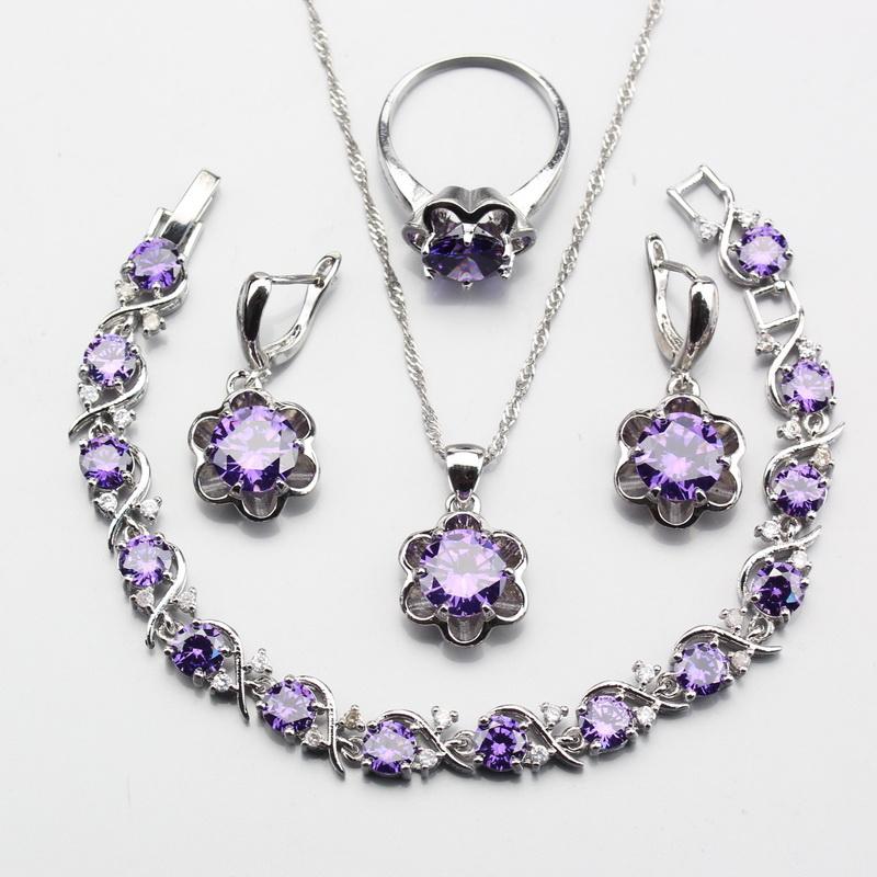 [해외]925 실버 보라색 지르콘 낭만적 인 꽃 보석 세트 여성 귀걸이 목걸이 펜던트 팔찌  상자 W208/925 Silver Purple Zircon Romantic Flower Jewelry Sets For Women Ring Earrings Necklace Pen
