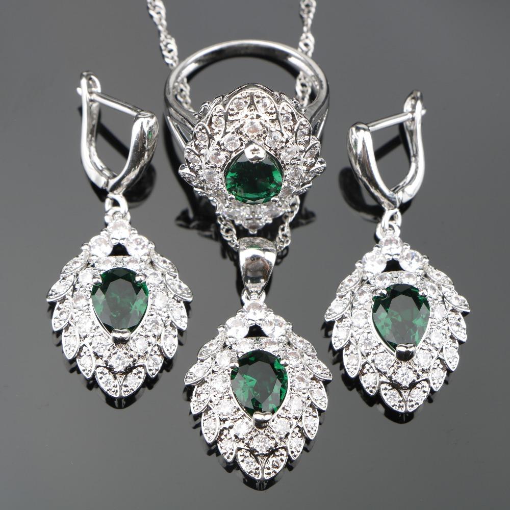 [해외]신부 녹색 큐빅 지 르 코니 아 화이트 CZ 실버 925 쥬얼리 설정 펜 던 트 / 목걸이 체인 / 반지 / 귀걸이 3PCS 여성을설정/Bridal Green Cubic Zirconia White CZ Silver 925 Jewelry Sets Pendant/N