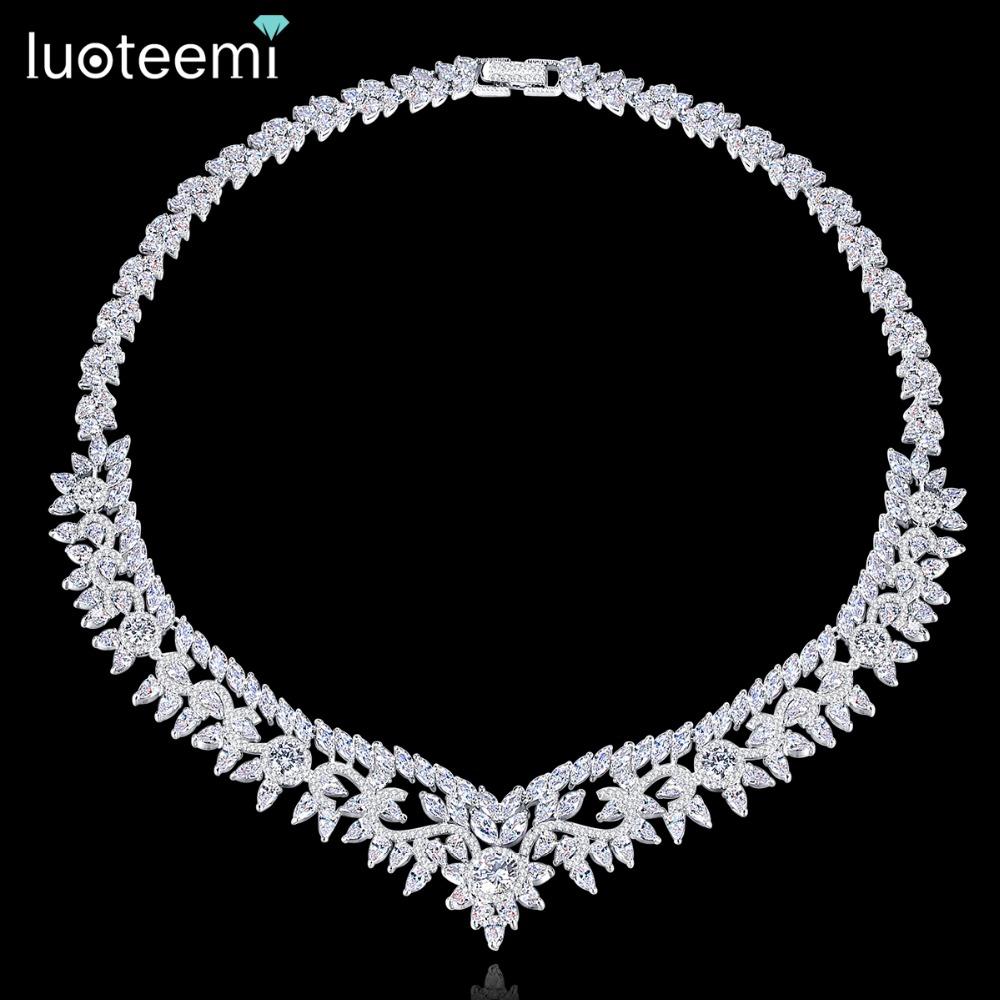[해외]LOTEEMI 로맨틱 럭셔리 CZ 크리스탈 중공업 칼라 초커 목걸이 여성용 꽃 모양의 신부 웨딩 파티 목걸이 보석/LUOTEEMI Romantic Luxury CZ Crystal Heavy Collar Choker Necklace For Women Flower