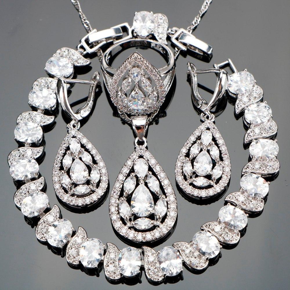 [해외]새로운 화이트 지르콘 실버 925 제복 보석 세트 여성 팔찌 펜던트 목걸이 반지 귀고리 스톤즈 보석 세트 선물 박스/New White Zircon Silver 925 Costume Jewelry Sets Women Bracelets Pendant Necklace