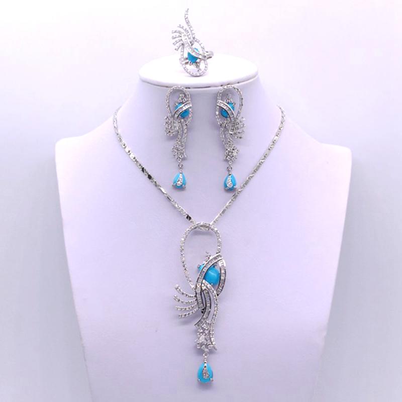 [해외]GZJY 럭셔리 웨딩 파티 신부 보석 화이트 골드 컬러 블루 스톤 지르콘 목걸이 귀걸이 반지 여성을설정/GZJY Luxury Wedding Party Bridal Jewelry White Gold Color Blue Stone Zircon Necklace Ear