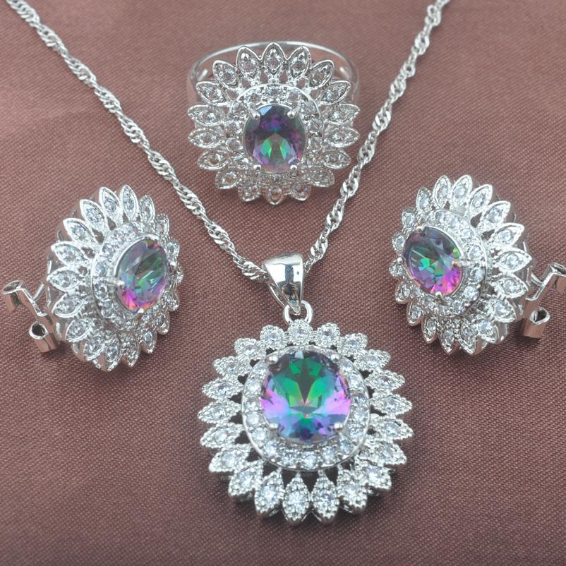 [해외]우아한 꽃 디자인 여성을여러 가지 빛깔의 무지개 지르코니아 쥬얼리 설정 925 스털링 실버 쥬얼리 세트 TZ0578/Elegant Flower Design Multicolor Rainbow Zirconia Jewelry Set For Women Weedding