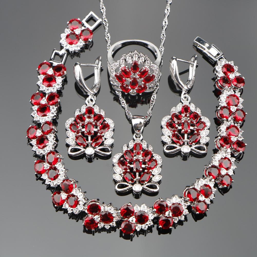 [해외]레드 지르콘 웨딩 실버 925 의상 쥬얼리 여성을설정 팔찌 펜던트 목걸이 반지 EarringsStones 세트 선물 상자/Red Zircon Wedding Silver 925 Costume Jewelry Sets For Women Bracelets Pendant