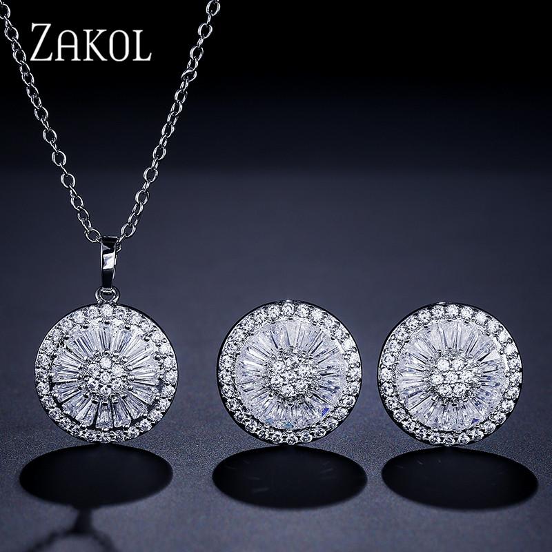 [해외]ZAKOL 최고 품질 CZ 크리스탈 여성 패션 쥬얼리 반짝이 둥근 큐빅 지 르 콘 목걸이와 귀걸이 신부 보석 세트 FSSP2013/ZAKOL Top Quality CZ Crystal Women Fashion Jewelry Shiny Round Cubic Zirc