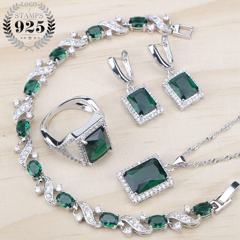 [해외]녹색 큐빅 지르코니아 숙녀 실버 925 쥬얼리는 여성 패션 2018 선물 상자 귀걸이 / 펜던트 / 목걸이 / 반지 / 팔찌 세트/Green Cubic Zirconia Ladies Silver 925 Jewelry Sets Earrings/Pendant/Neck
