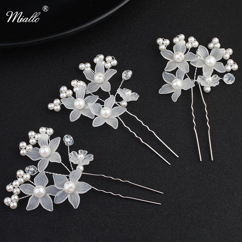 [해외]Miallo 3pcs / lot 웨딩 헤어 핀 신부 아이 보 리 장식 화이트 5- 스타 꽃 헤어핀 여성 헤어 액세서리에 대 한/Miallo 3Pcs/Lot Wedding Hair Pins Decorative for Bride Ivory White Five-Sta