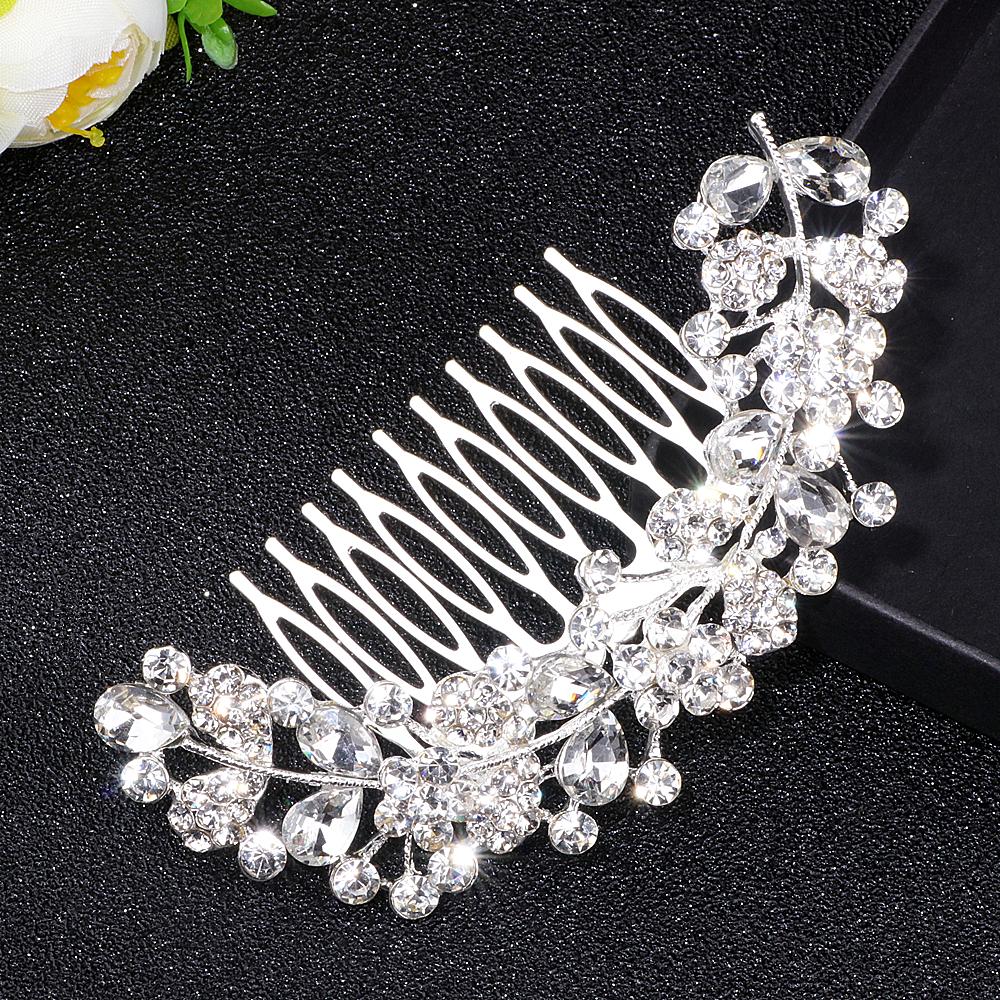 [해외]화려한 신부 웨딩 헤어 액세서리 실버 컬러 큰 크리스탈 잎 머리카락 비녀 WX027 여성을헤어핀 헤어 쥬얼리/Gorgeous Bridal Wedding Hair Accessories Silver Color Big Crystal Leaf Hair Combs Hai