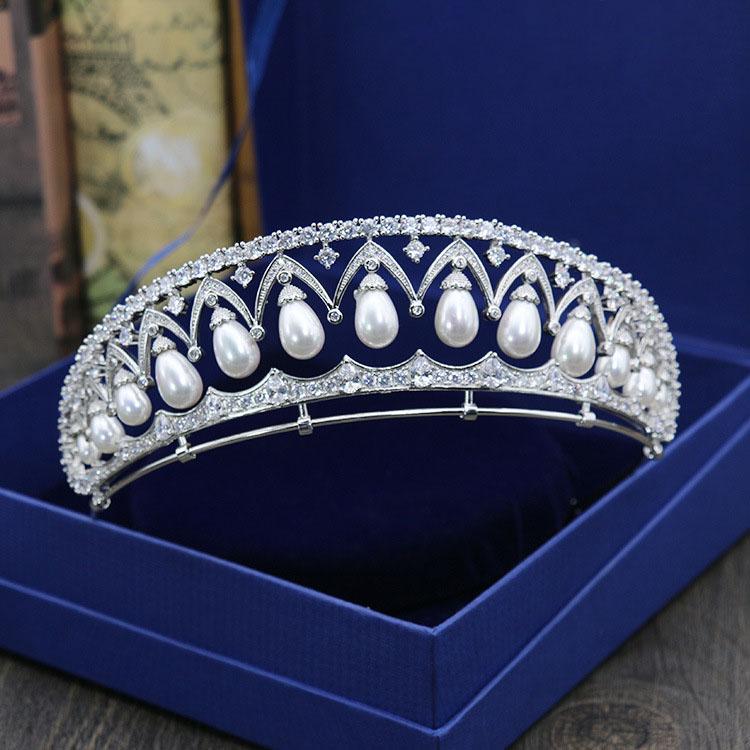 [해외]2017 멋진 깨끗한 입방 지르콘 진주 웨딩 티아라 CZ 신부의 여왕 공주 미인 대회 로얄 파티 크라운/2017 New Arrival Stunning Clear Cubic Zircon Pearls Wedding Tiara CZ Bridal Queen Prince