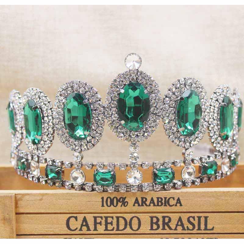 [해외]zerongE 보석 3.4 & 라인 석 신부의 왕관 Tiaras 총 금속 Diadem Tiaras 여성을신부 웨딩 HeadwearGreen 스톤/zerongE jewelry 3.4& rhinestone Bridal Crown Tiaras gun metal