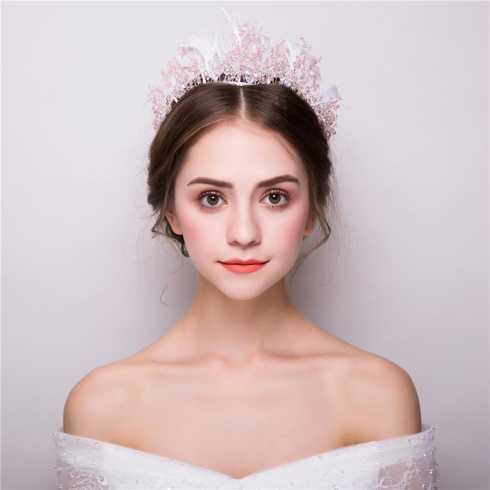 [해외]핑크 비즈 머리띠 크라운 인공 깃털 패션 한국어 스타일 헤드 피스 헤어 액세서리 Hairband Tiara Bridal Wedding Gifts/Pink Beads Headband Crown Artificial Feather Fashion Korean Style